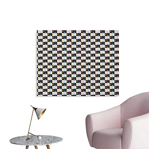 Anzhutwelve Colorful Wallpaper Black and White Checkered Pattern with Lively Colored Dots Modern Geometric Tile Custom Poster Multicolor W36 xL24