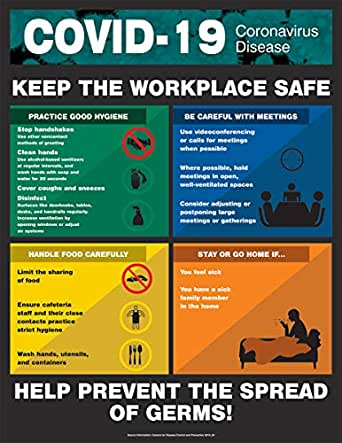 """COVID-19 Safety Poster, Keep The Workplace Safe, Laminated, 28"""" x 22"""""""