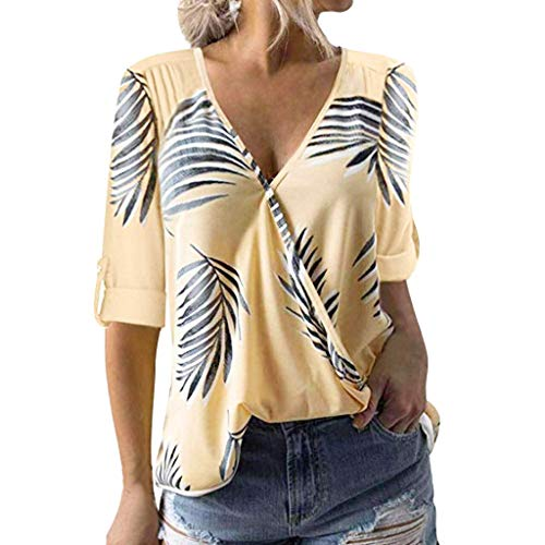 〓COOlCCI〓Women's Summer Half Sleeve Dip Hem Plain T-Shirt V Neck Leaf Print Shirts Short Sleeve Casual Tops Blouses Yellow ()
