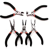 LoveStorY Jeweler Pliers Tool Jewelry Making Tools Kit Set Round Needle Long Bent Daigonal Side Cutter End Cutting Nose Jaws Beading Cutting Joint Pliers (Red)