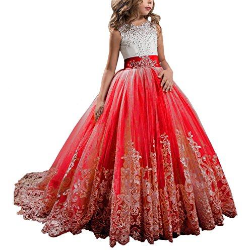 WDE Princess Red Long Girls Pageant Dresses Kids Prom Puffy Tulle Ball Gown US 8 -