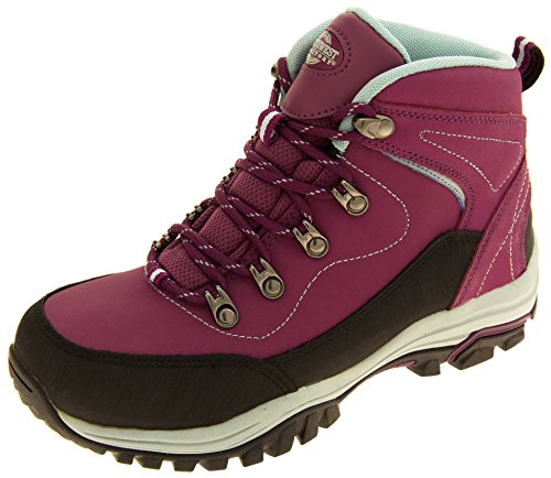 Northwest Territory Womens Leather Waterproof Hiking Boots Purple and Blue