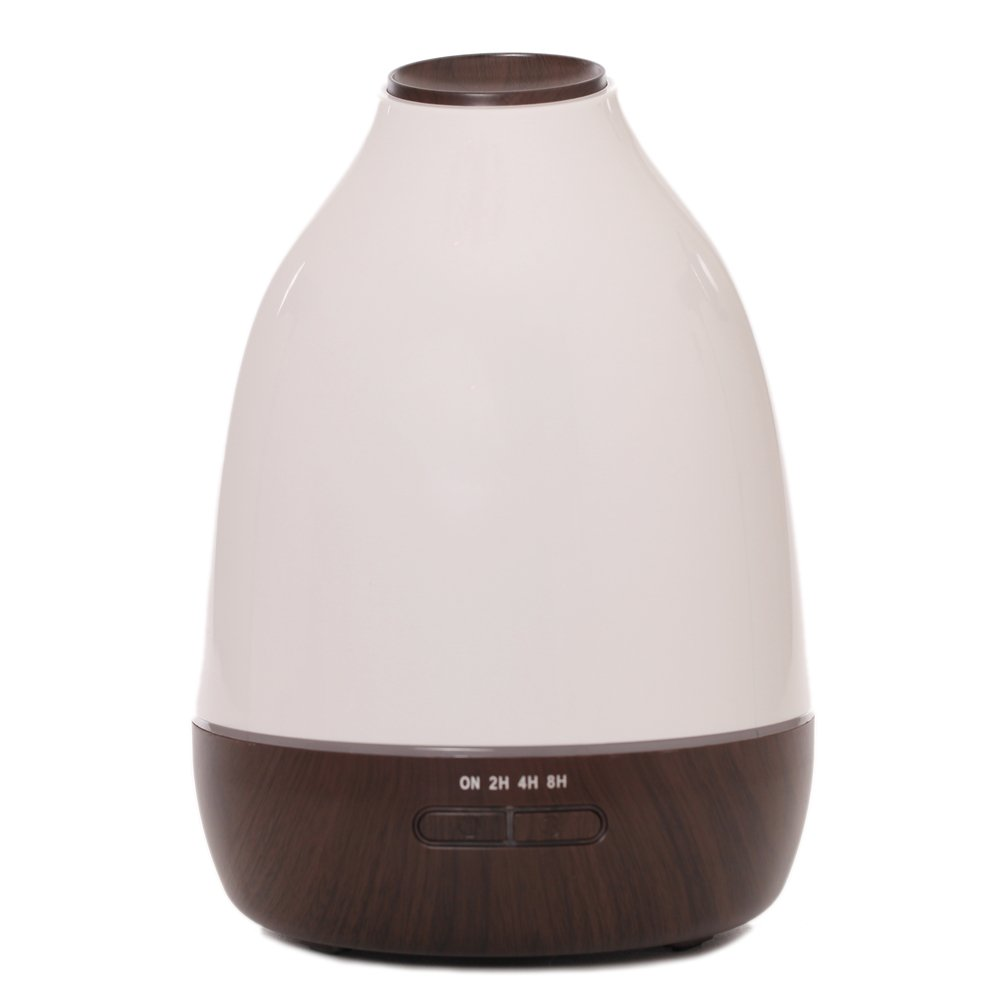 Wansu 500ml Aroma Essential Oil Diffuser, Ultrasonic Cool Mist Humidifier Air Humidifier with 7 Color LED Waterless Auto Shut-off,for Home, Yoga, Office, Spa, Bedroom, Baby Room;Dark Wood Grain