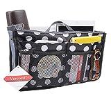 Purse Organizer,Insert Handbag Organizer Bag in Bag (13 Pockets 15 Colors 3 Size) (L, Black dot)