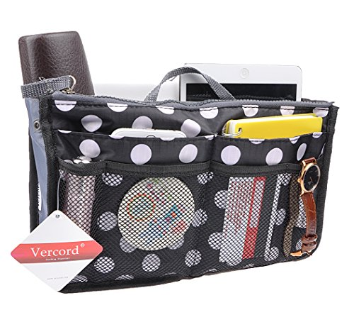 (Purse Organizer,Insert Handbag Organizer Bag in Bag (13 Pockets 15 Colors 3 Size) (S, Black dot))
