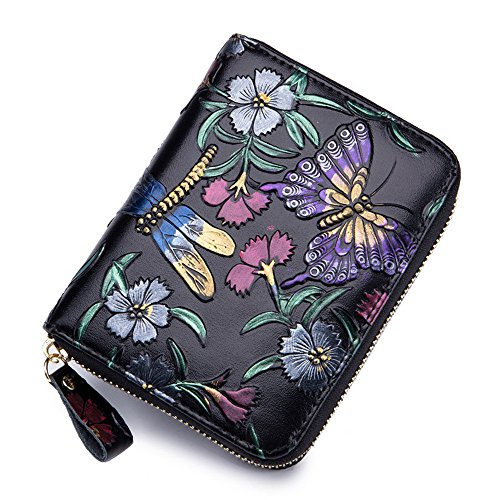 Animal Embossed Genuine Leather Card Holder RFID Blocking Wallet for Women (Dragonfly) -
