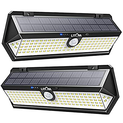 LITOM Solar Lights Outdoor Newest Version, 122 LED 1.8W Solar Motion Sensor Lights with 270°Wide Angle, Easy-to-Install, IP67 Waterproof Solar Lights for Front Door, Yard, Garage, Deck