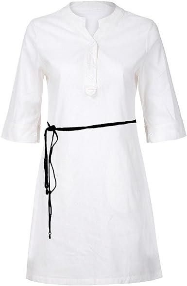 Vestidos Playa Mujer Verano Corto Mini Vestido Elegante Vestido de Playa Casual Bohemio Vestir Ropa Falda Suelto Vestido del Chaleco de Causal Vestido Camisa para Mujeres (M, Blanco): Amazon.es: Ropa y accesorios