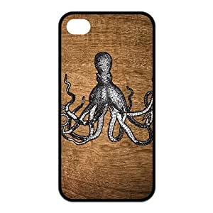 Luckhappy123 store Customize Octopus on all kinds of background black(tpu) Case Fits and Protect iphone 4 4s
