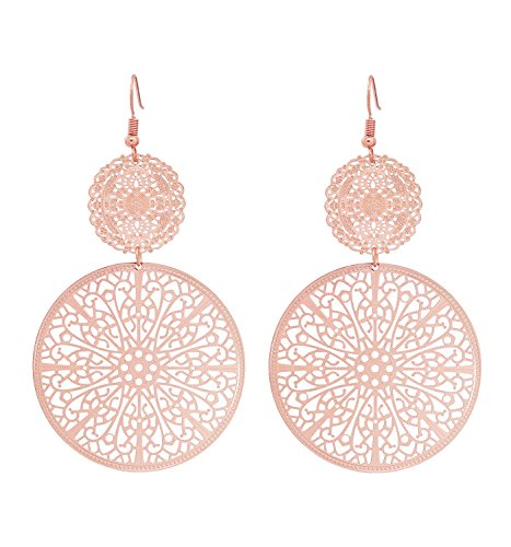 Youmi Filigree Disc Drop Earrings Double Round Disc Statement Earrings Metallic Brass Disc Dangle Hook Earrings (Rose Gold)
