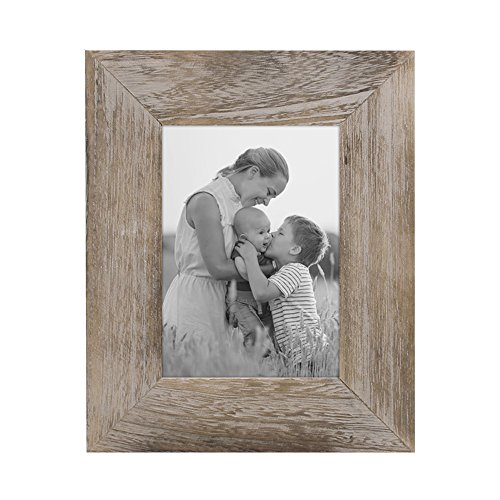 (Afuly Rustic Picture Frame 5x7 Brown Distressed Wood Photo Frames for Grandma Wedding Gifts)
