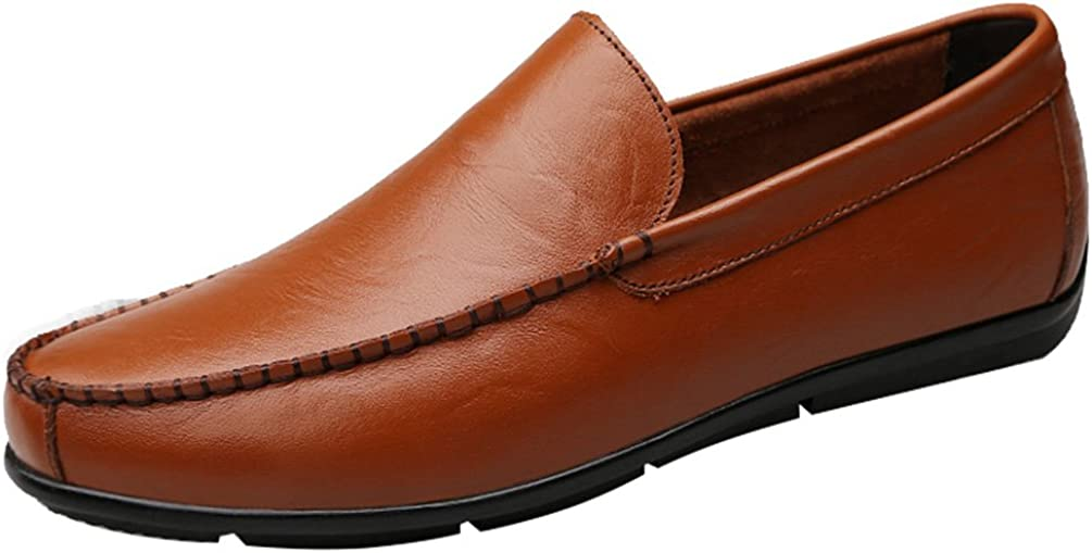 Abby QZYYU-305 Mens Office Pliable Plain Toe Formal Party Flat Soft Comfy Slip On Nimble Upper Leather Charm Moccasins Lissom Driving Shoes Bussiness Penny Loafers Trendy
