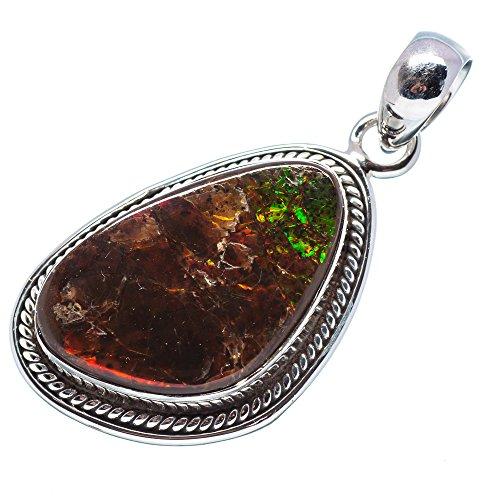 Ammolite Pendant 1 1/2 (925 Sterling Silver) - Handmade Jewelry PD641604