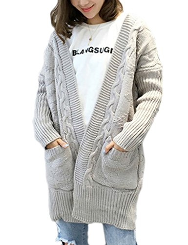 Choco Mocha Womens Long Chunky Cable Knit Cardigan Sweater with Pockets Grey