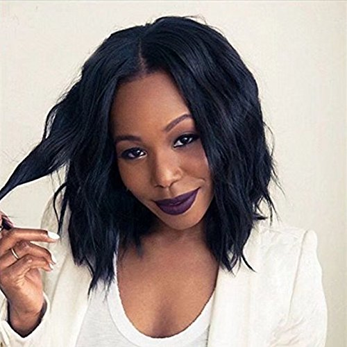 Zhangxiuzhu Wig Cheap Short Wavy Human Hair Full Lace Wig Brazilian Hair Glueless Lace Front Wigs Middle Part Fashion Hairstyle Natural Wavy Short Bob Human Hair Wigs With Baby Hair For Black Women (Style Wig Natural Bob)