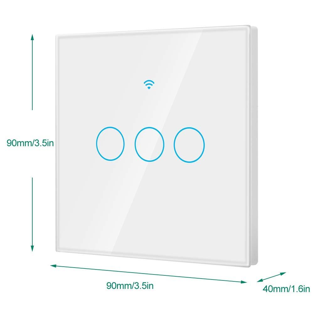 Sin Requiere Concentrador Blanco Wifi Interruptor de Luz Inteligente Interruptor de Pantalla T/áctil /Único C/írculo para Alexa Google 3-way
