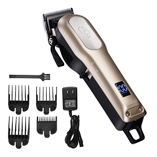 XBlade Hair Clipper for Men Professional Cordless Built-in 2000mAh, Rechargeable Li-ion Battery with LED display, Stainless Steel Blade, Powerful Motor – Gold