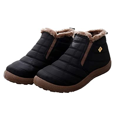 Hishoes Women Warm Snow Boots Men Slip On Winter Ankle Boots Fur Lined  Waterproof Booties Lightweight 576b03a472