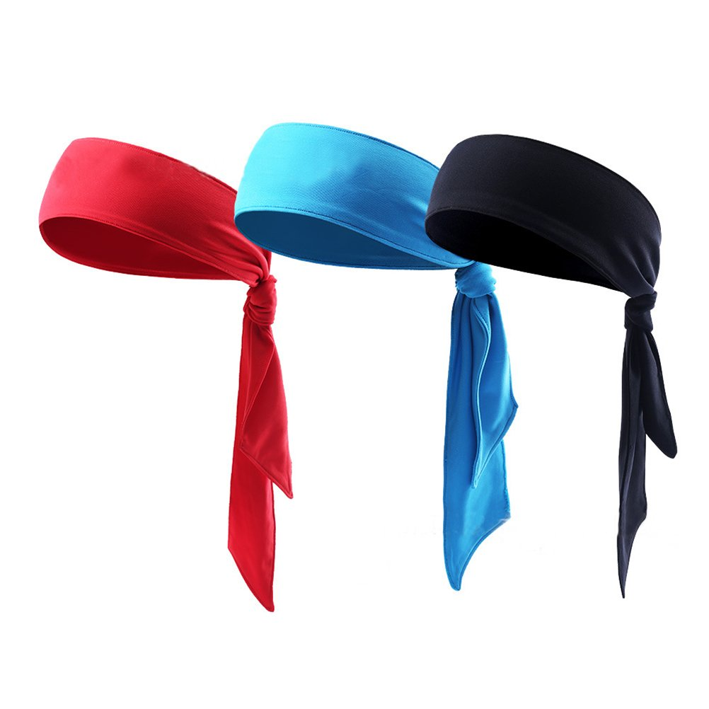 Quickly Dry Sports Headband Stretch Sweatband Head Tie Scarf Wrap Bandana for Tennis Running Cycling Fitness Pack of 3 WINOMO