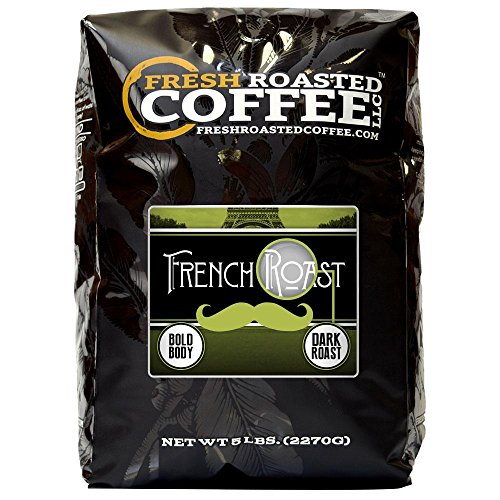 Fresh Roasted Coffee LLC, French Roast Coffee, Dark Roast, Whole Bean, 5 Pound -
