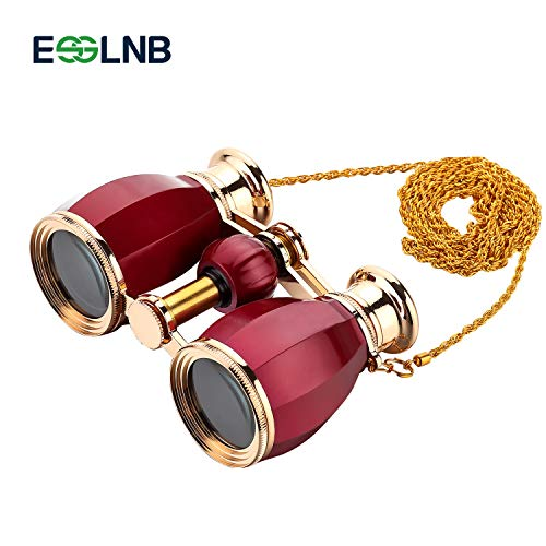 ESSLNB Opera Glasses Binoculars for Women Adults 4X30mm Theater Glasses Compact Binoculars for Theater and Concerts Antique Binoculars with Case Removable Chain Red