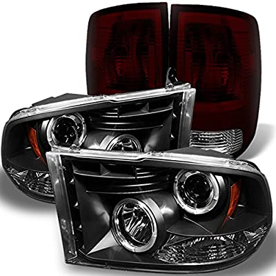 For Dodge Ram 1500 2500 3500 Smoked Lens Halo Projector LED Headlights Black Smoke Tail Lights Lamps