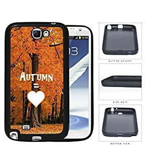Autumn Equals Love With Beautiful Orange Tree Forest Samsung Galaxy Note II 2 N7100 Rubber Silicone TPU Cell Phone Case