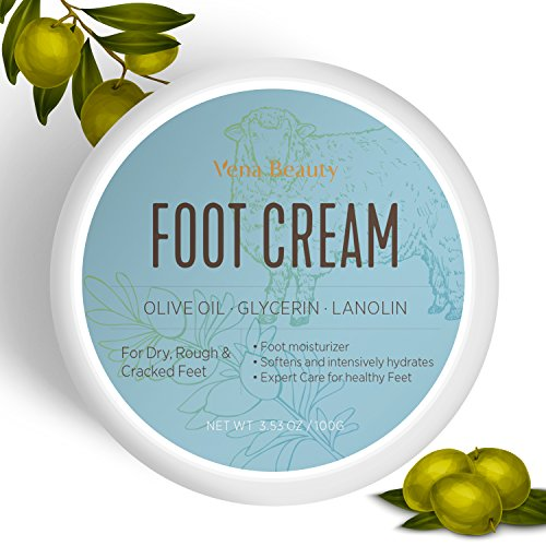 Foot Cream, Foot Moisturizer- Softens And Intensively Hydrates For Thick, Cracked, Rough, Dead and Dry Skin With Olive Oil
