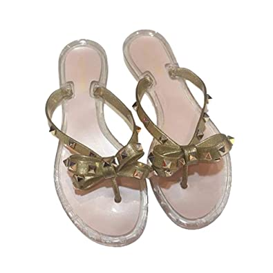 8a56fc2eb Womens Valentino PVC Jelly Rockstud Bow Thong Flip Flop Sandals (36 EU)  Golden