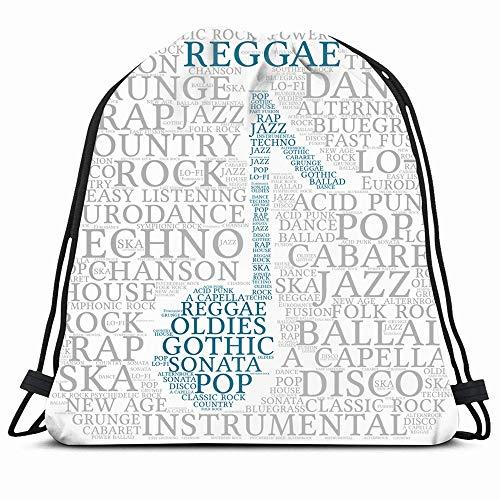 Ahawoso Drawstring Backpack String Bag Acid Reggae Word Cloud Musical Notes Eurodance Gray Acapella Age Alternrock Ballad Bluegrass Cabaret Sport Gym Sack Hiking Yoga Travel Beach