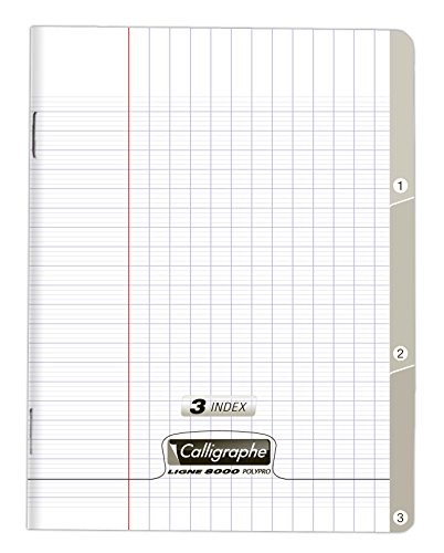 - Clairefontaine Calligraphe 170 x 220 mm PP Stapled Notches Notebook, Seyes Ruled, 96 Pages, Transparent