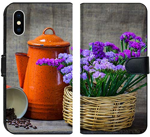 Luxlady iPhone XS Flip Fabric Wallet Case Image ID: 24077437 Red teapot Place on Wooden Table with Purple Flower in Wooden Basket