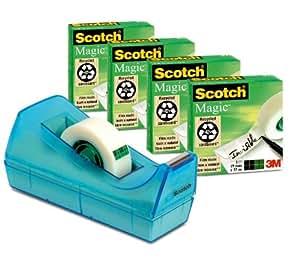 Scotch C38SM4B - Cinta adhesiva transparente, 4 rollos