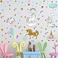 PASHOP 2 Sheets Unicorn Wall Decals Cute DIY Removable Unicorn Wall Stickers Pill and Stick Wall Decor Colorful Wall Art Mural for Kids Bedroom Living Room Nursery Room Home Decor (Unicorn) (Unicorn)