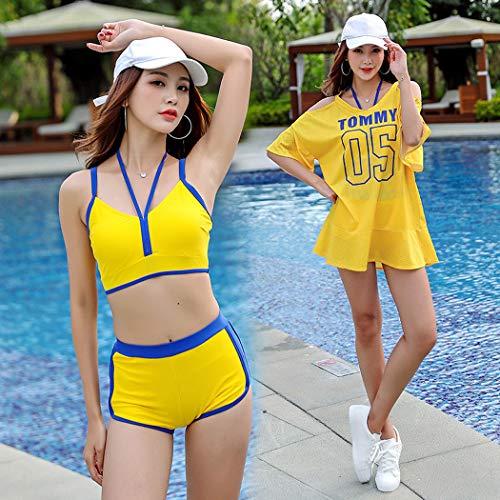 Sportivi Di Set A Costumi In Pezzi Bagno Split Tre Alta Camicetta Fashion Da Giallo Acciaio Donna Vita 8BvnzqB