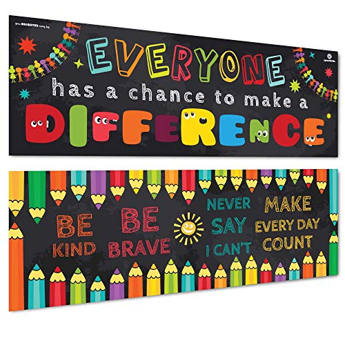 "Sproutbrite Classroom Banner/Posters for Decorations - Educational, Motivational & Inspirational Growth Mindset for Teacher, Students - 2 Poster Pack - 13""x39"" Each (3 Mil Laminated)"