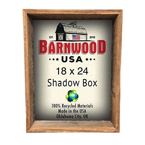 "BarnwoodUSA | Rustic Farmhouse Collectible Shadow Box Picture Frame | Made of 100% Reclaimed and Recycled Wood | Shadow Box Style To Display Collectibles, Photos, Antiques | Made in USA | 18""x24"" - Collectable Box"