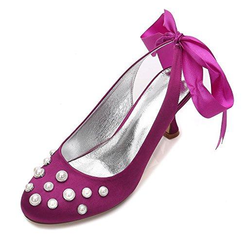 L@YC Zapatos de Boda para Mujer E17061-20 Satén y Perla Zapatos de Novia de Verano de tacón Alto (a Medida) Purple