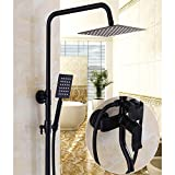 W&P Bathroom Black Shower Set Wall Mounted Rainfall Shower Mixer Tap Faucet Antique Retro Hot & Cold Water Shower Set , d