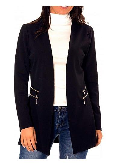3a556dc1785048 dmarkez-vous - Veste de Blazer Femme 3/4 sans col avec Double Zip ...