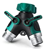 Garden Hose Splitter-2 Way Y Hose Connector Y Type Metal Garden Hose Splitter with Comfortable Rubberized Grip Fits With Outdoor Faucet Sprinkler Drip Irrigation Systems (2Y-B)