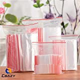 CBAZY Resealable Poly Zipper Bags Pack of 100, 6 by 8-Inch, 150mm by 220mm, 1mil Clear Plastic Bags Red Zip