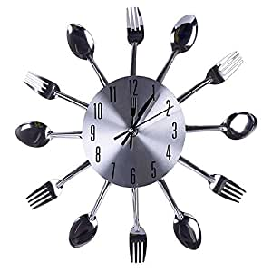 cfhkstore 1pcs spoon fork clock high quality quartz battery support home kitchen. Black Bedroom Furniture Sets. Home Design Ideas
