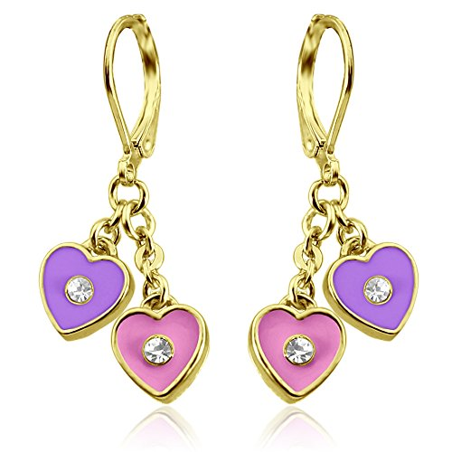Kids Earrings with Enamel Hearts 18k Gold Plated Girls Jewelry Sets Heart Gifts for Little Girls