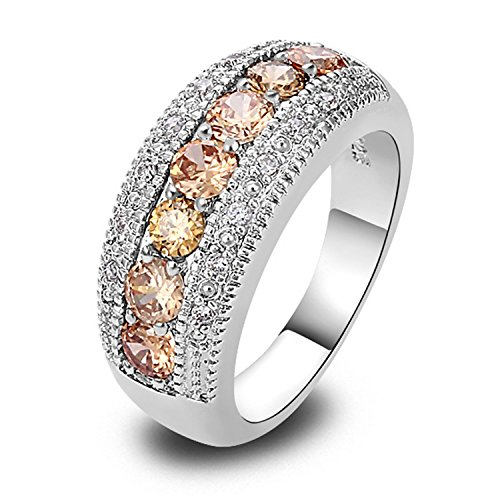 Slyq Jewelry Champagne Morganite Silver Band Ring Size 6 7 8 9 10 11 12 13 New Fashion Ring - Rehoboth De Outlets