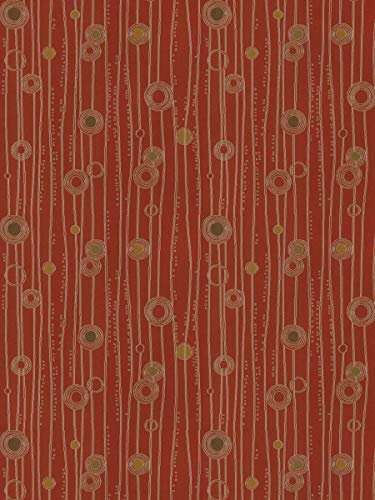 Poppy Gold Red Stripes Contemporary Modern Dots Circles Wovens Upholstery decorative Upholstery Fabric by the yard
