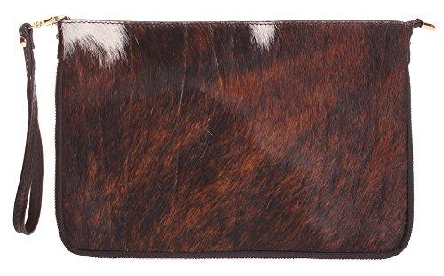 Bag Big Pony 4 Clutch Shoulder Handbag Genuine Zip Leather Design with Calf Shop Large Fur qBqRFP