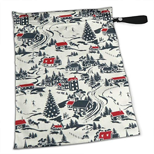 (Pummbaby Winter Berries Winter Village Workout Laundry Reusable Wet Dry Separation Travel Beach Gym Tote Bags Wet Dirty Clothes and Wet Wipe Holder for Diaper Packing Bag Pads Hanging)