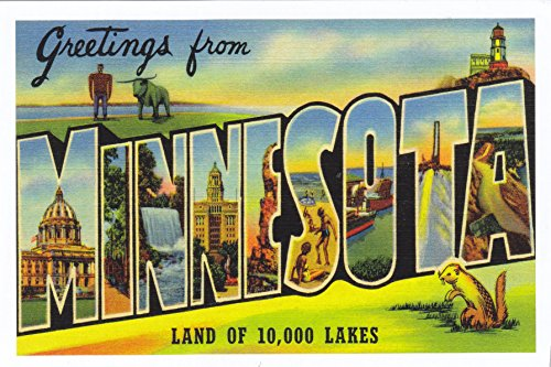 (STATES2MIN - GREETINGS from MINNESOTA , LAND OF 10,000 LAKES; (vintage LARGE LETTER STATE name ) Statehood: May 11, 1858; Capital: Minneapolis; A MINNESOTA STATE POSTCARD . .. from Hibiscus Express)