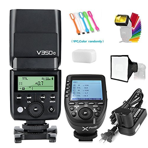 Godox V350C TTL 2.4G GN36 HSS 1/8000s Camera Flash Speedlite Light 7.2V/2000mAh Li-ion Battery+XPro-C Wireless Trigger Transmitter Compatible Canon Cameras +15x17cm Softbox&Filter+USB LED